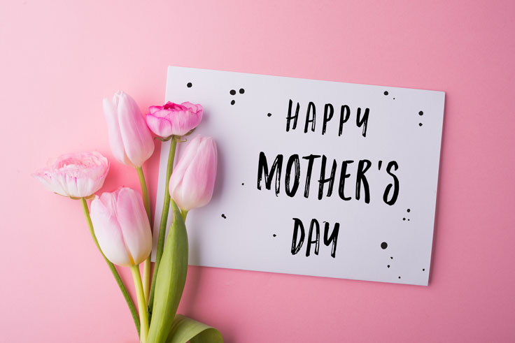 mothers day card with pink tulips on pink background